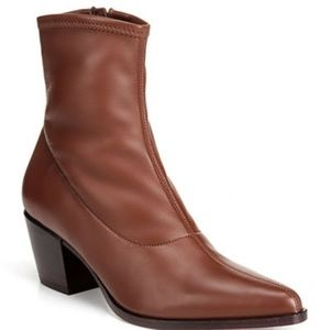 VINCE. hayek stretch leather brown sock booties
